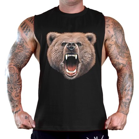Men's Vicious California Grizzly Bear Sleeveless Black T-Shirt Gym Tank Top Large - Grizzly Bear Suit For Sale