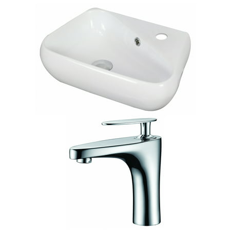 17 5 in W Above Counter White Vessel Set For 1 Hole Right Faucet Fauce