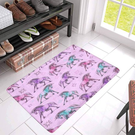 POP Beautiful Unicorns Doormat Non Slip Indoor/Outdoor Doormat Floor Mat Home Decor Entrance Rug 30x18 inches - image 1 of 3