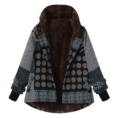 Mosunx Plus Size Women Hooded Long Sleeve Vintage Ladies Fleece Thick Coats Zipper Coat (Black Hooded Cloak With Sleeves)