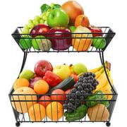 Sorbus Fruit Bread Basket, 2 Tier Countertop Rack, for Vegetable, Snacks, Household Items, Kitchen Storage Organizer, (Black)