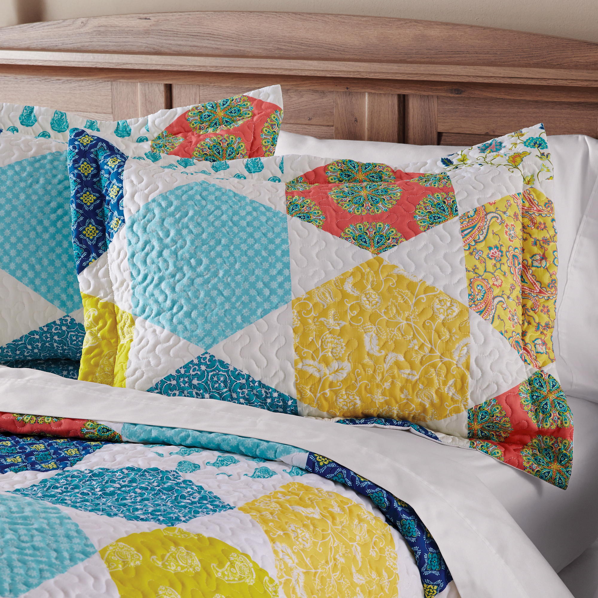 Mainstays Multicolor Hexagon King Sham