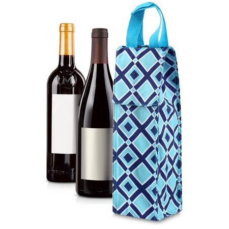 Wine Carrier Tote Bag by Zodaca Thermal Insulated Lightweight Wine Bottle Tote Carrying Case Whisky Glass Bottle Carry Holder Bag for Travel Party Gift (Tote Bag With Water Bottle Holder)