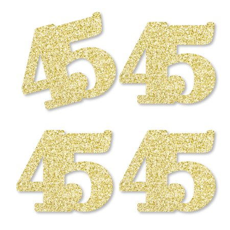 Gold Glitter 45 - No-Mess Real Gold Glitter Cut-Out Numbers - 45th Birthday Party Confetti - Set of 25
