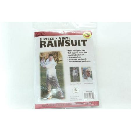 Small 3Pc Vinyl Rainsuit Boulder Creek Safety 61101 Crystal Clear 811412016110