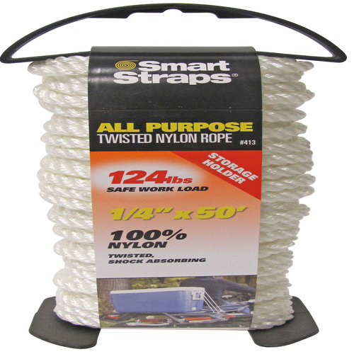 "SmartStraps Twisted Nylon Rope, 1/4"" X 50'"