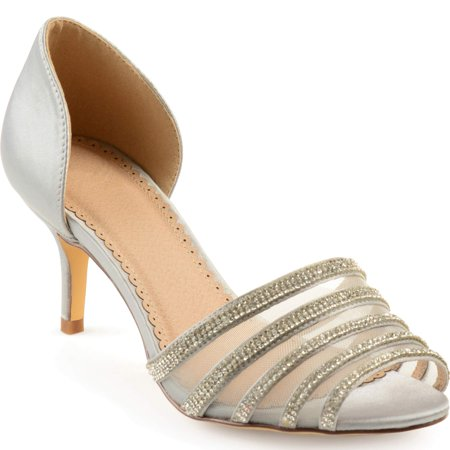 Brinley Co Womens Salem Satin D'Orsay PeepToe Rhinestone High White Size 7.0