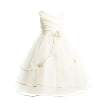 Dempsey Marie Girls Pleated Satin Special Occasion Flower Girl Dress sizes 2 to 16