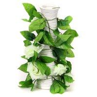 Artificial Rose Garlands, Silk Fake Rose Flowers Green Leaves Vine for Home Hotel Office Wedding Party Garden Craft Art Decor