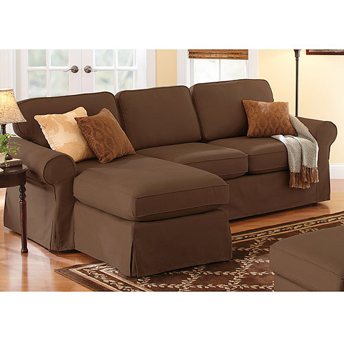 Better Homes and Gardens Slip Cover Chaise Sectional, Chocolate