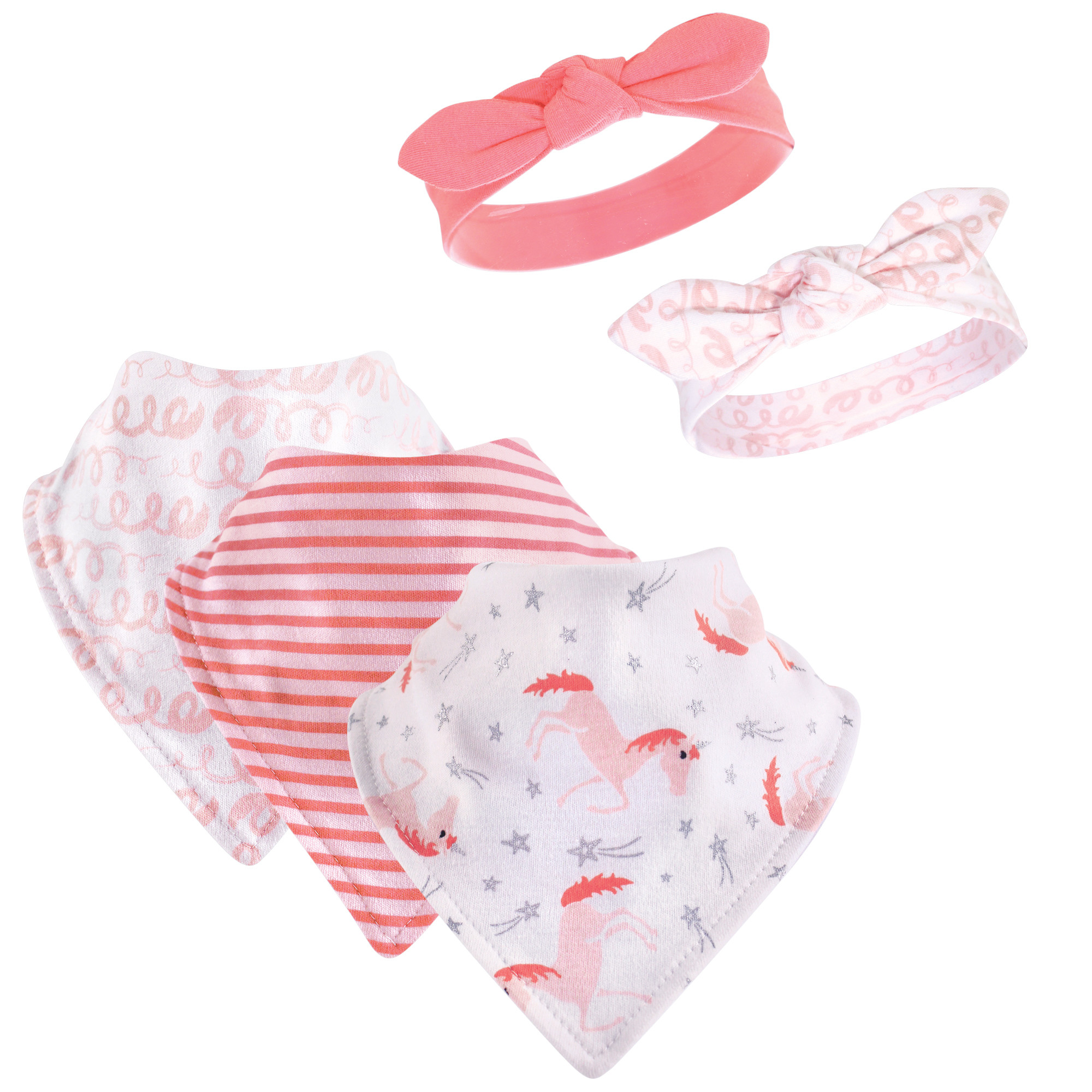 Hudson Baby Baby Girl Bandana Bibs and Headbands, 5-Piece Set, Coral Unicorn