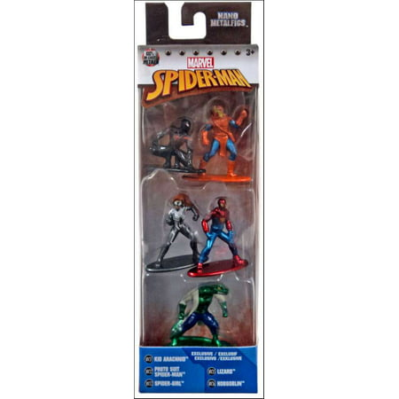 Marvel Nano Metalfigs Kid Arachnid, Proto Suit Spider-Man, Spider-Girl, Lizard & Hobgoblin Diecast Figure 5-Pack (Marvel Kid)