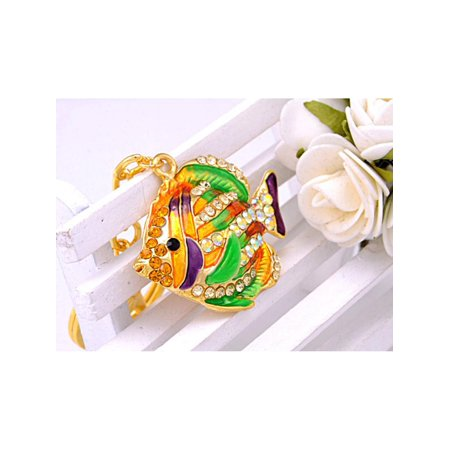 Feinuhan Golden Tone Multi Colored Rhinestones Tropical Colorful Angel Fish Key Chain