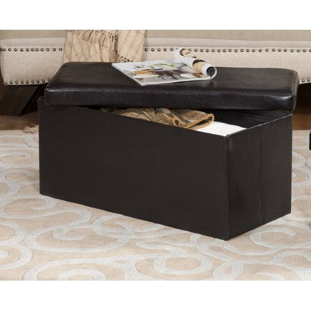 Fantastic Black Faux Leather Upholstered Rectangle Foldable Footstool Bench Ottoman With Storage Walmart Com Andrewgaddart Wooden Chair Designs For Living Room Andrewgaddartcom