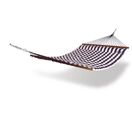 Kings Pond Hammaka Pillow Hammock Turn your backyard into a personal oasis with this Hammaka pillow hammock.  Featuring a comfortable built-in pillow, this hammock is wide enough to comfortably cradle two people. Choose from blue-and-white or green-and-white stripes to match your taste and sense of style. Made of sturdy 600 denier polyester, this hammock's hardwood Nantucket-style spreader bars keep the hammock open and ready to rock you on those lazy summer days. Tie it between your two favorite shade trees or pick up a coordinating stand and get ready to relax. Color: Blue and white striped, green and white striped, or red and white striped. Materials: 600 denier polyester Finish: Dark hardwood spreader barsStand not includedNot weather-proofDimensions: 148 inches long x 58 inches wide x 1 inch deepWeight: 25 pounds