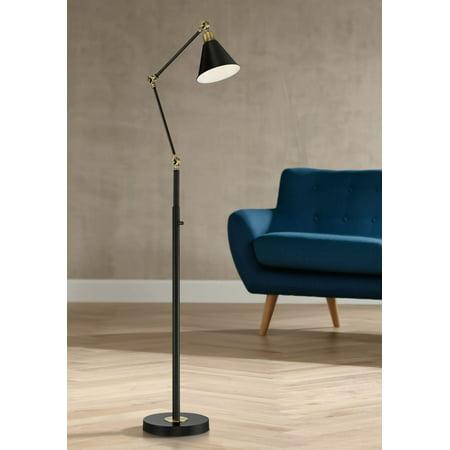 360 Lighting Wray Black and Antique Brass Adjustable Floor Lamp 307 7925 Poa Lmp65 Lamp