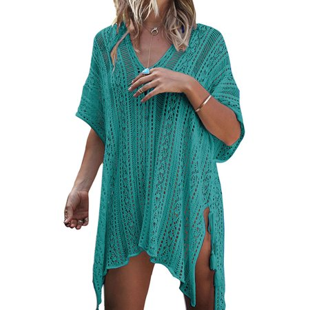 2b0ea3dccae31 Sexy Dance - Womens Cover-ups Bohemian Knit Crochet Swim Bikini Tunic Beach  Dress Tops with Tassels Summer Beachwear Bathing Suit - Walmart.com