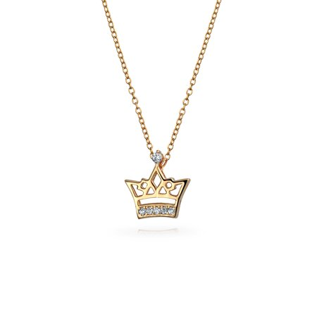 Small Princess Queen Bee Crown Pendant Cubic Zirconia Rose Gold Plated 925 Sterling Silver Necklace For Women For Teens