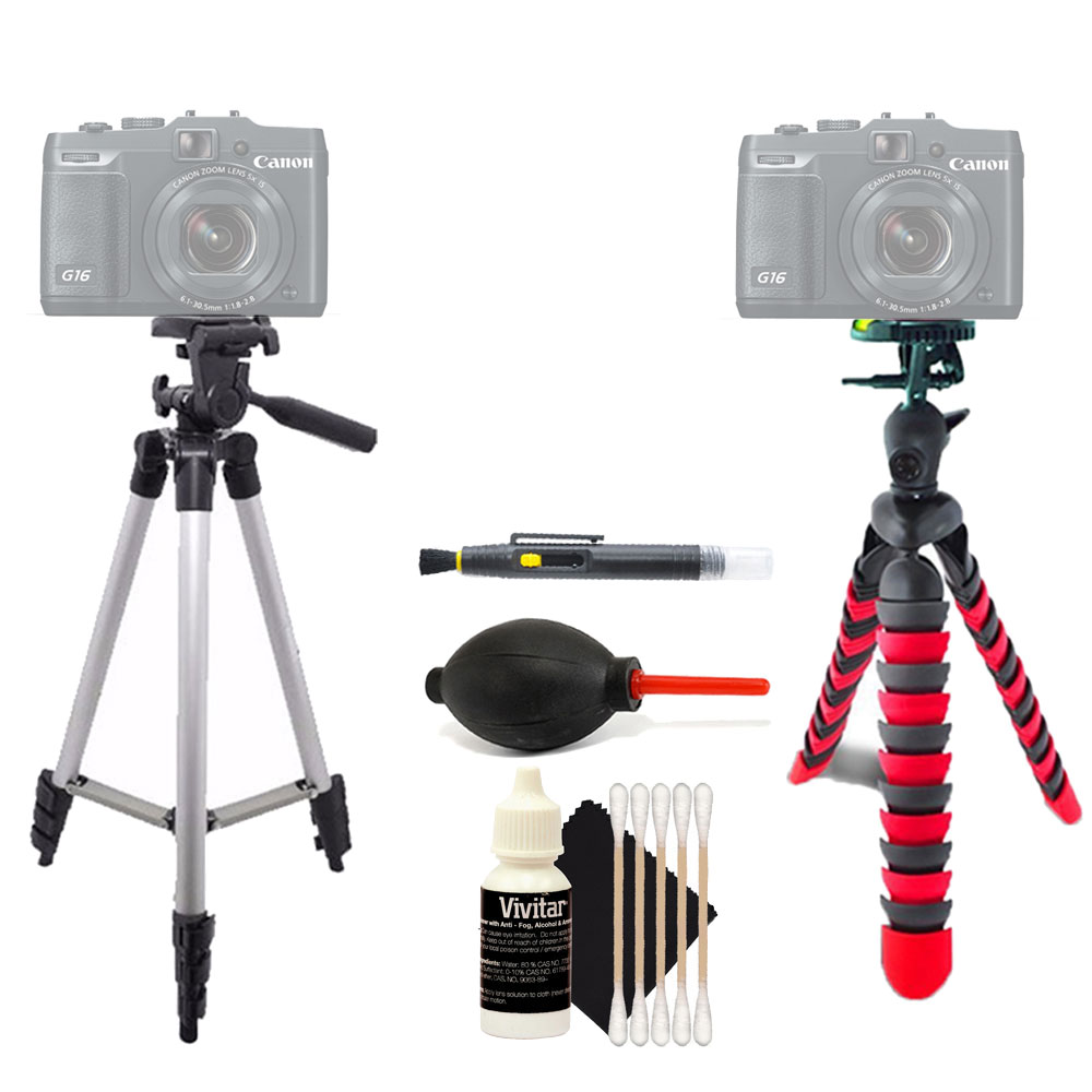 Tall Tripod and Flexible Tripod with Accessory Kit for Canon PowerShot SX710 G7X G16 and All Digital Cameras