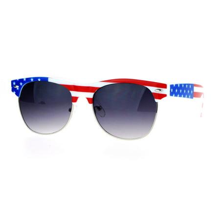 SA106 Mirror Lens Patriotic USA Flag Print Half Rim Sunglasses Solid Smoke - Patriotic Sunglasses