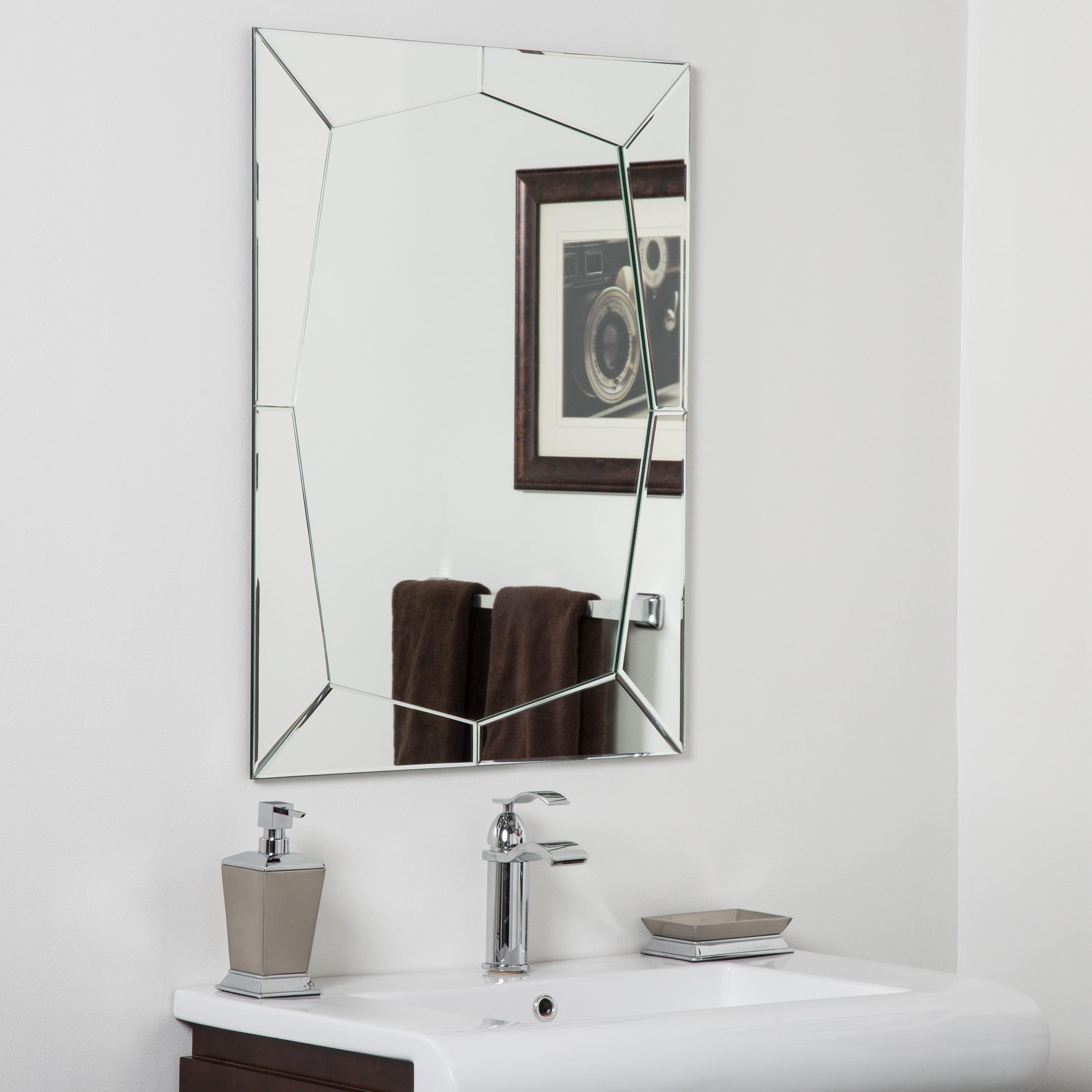 Decor Wonderland Carstadt Modern Clear Glass Frameless Bathroom Mirror by Overstock