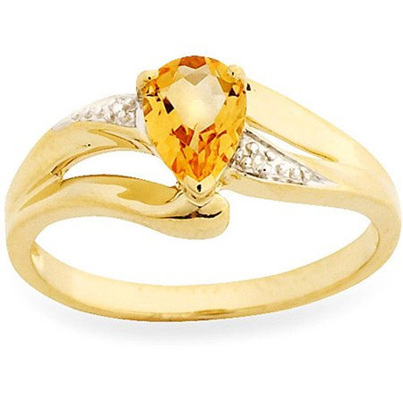 Simply Gold Gemstone 7x5mm Pear-Shaped Citrine and Diamond Accent 10kt Yellow Gold Ring, Size 7
