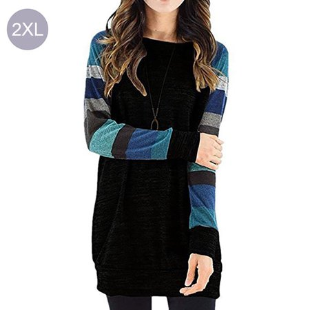 d29232bf7128d3 Fortressmount - Womens Tops Crew Neck T-Shirts Striped Color Block Tunic Casual  Blouses Long Sleeve Lightweight Pullover - Walmart.com