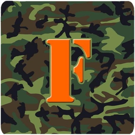 Monogram - Camo Green Foam Coasters, Initial Letter F - Set 4, 3.5 x 3.5 In.