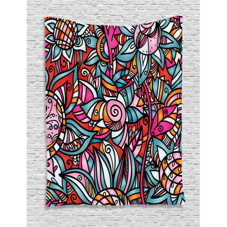 Abstract Home Decor Wall Hanging Tapestry, Colorful Abstract Florals Sunflower Mosaic Curl Ornaments Stained Glass, Bedroom Living Room Dorm Accessories, Gift Ideas, By (Quoizel Stained Glass Tapestry)