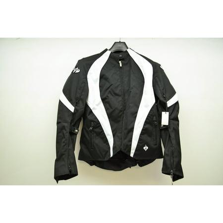 Womens Black & White Lotus 2.0 Motorcycle Jacket Small ()