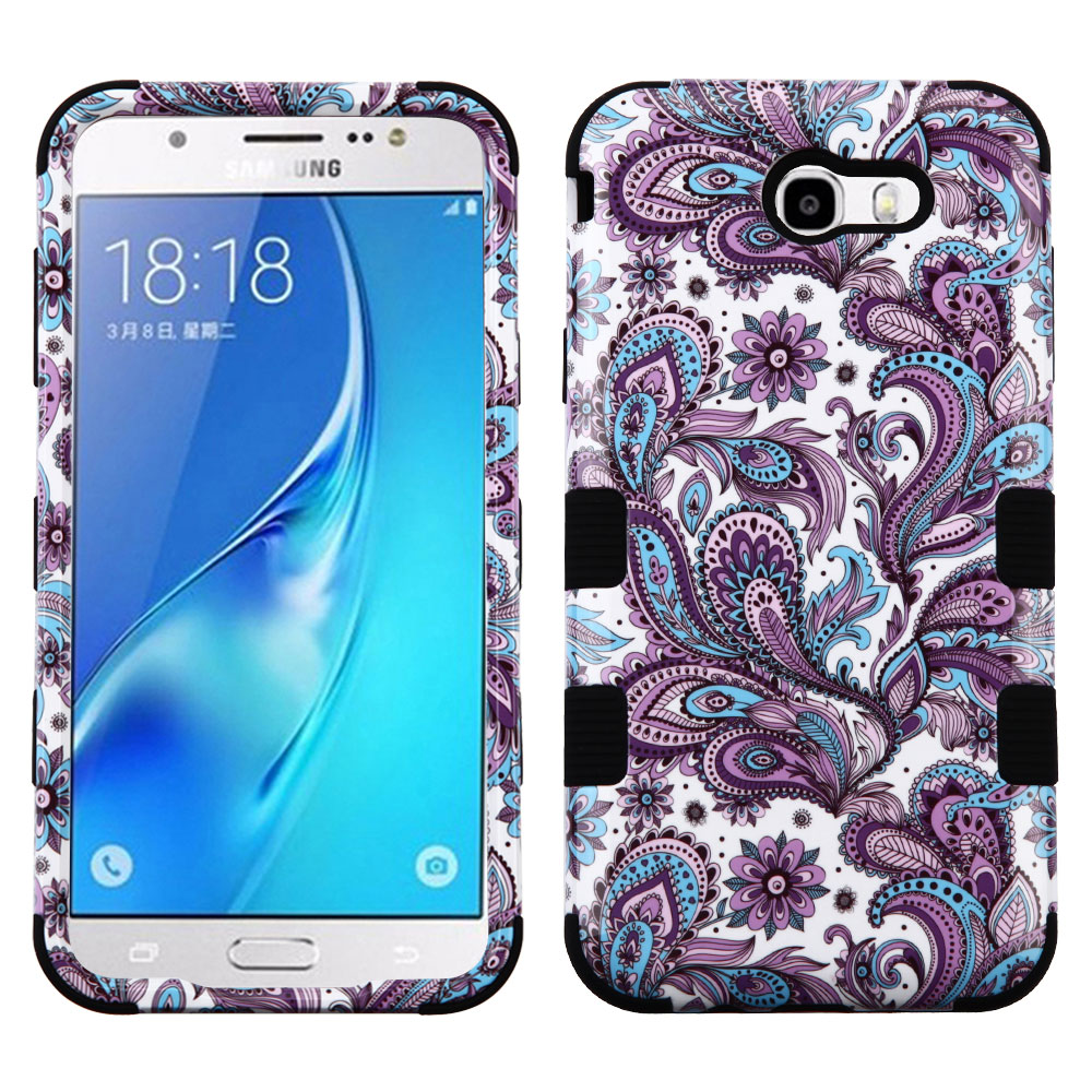 Samsung Galaxy J7 Sky Pro 4G LTE Case - TUFF Series [Military Grade Drop Tested - MIL-STD 810G-516.6] Heavy Duty Shock Resistant Protective Case (Purple Paisley) and Atom Cloth
