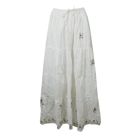 Mogul Cotton White Maxi Skirt A-Line Flare Gypsy Hippie Chic Long Skirts