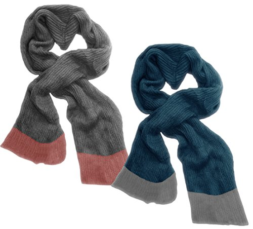 Peach Couture Loose Border Hand Knit Warm Scarf 2 Pack Grey, Blizzard Blue - image 1 of 1