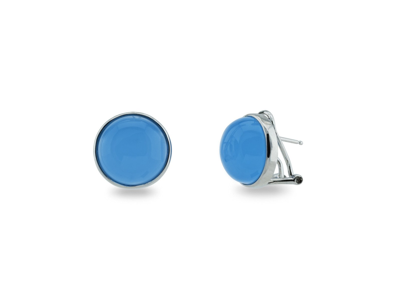 Sterling Silver Synthetic Blue Chalcedony Cabuchon Omega Clip Earrings by Netsilver