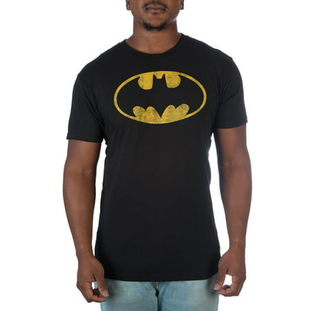 Dc Comics Batman Men's black distressed batman logo tee, up to 3xl tall and 4xl big](Mens Batman Onsie)