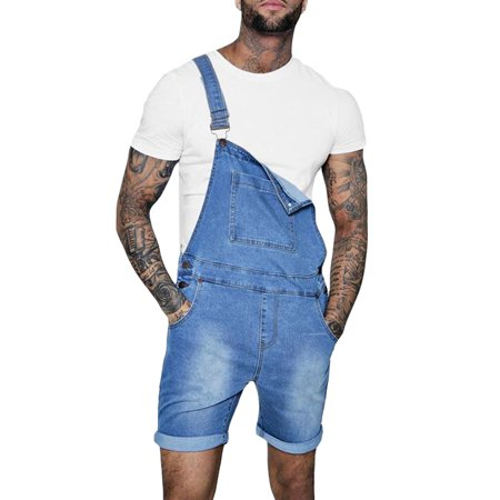 Mens Bib Denim Overall Shorts Jean Romper Casual Workout Summer Button Jumpsuit Navy Blue - Cannondale Bib Shorts