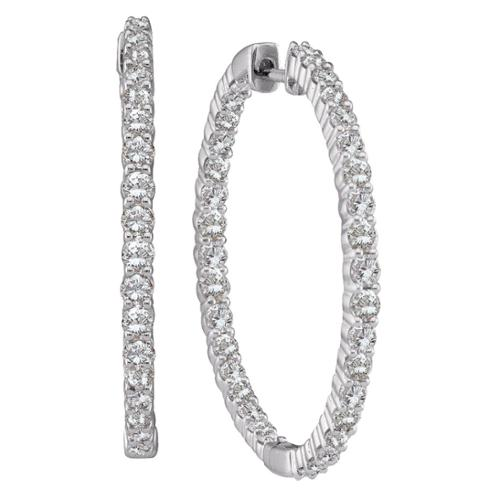 Eloquence  14k White Gold 1ct TDW Diamond Hoop Earrings