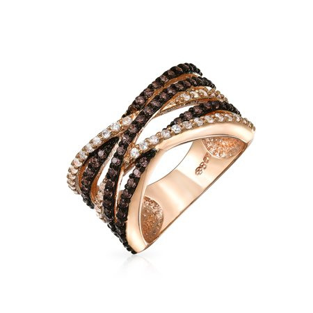 Criss Cross Rose Gold Plated Pave Clear and Coffee CZ Ring with Engraving