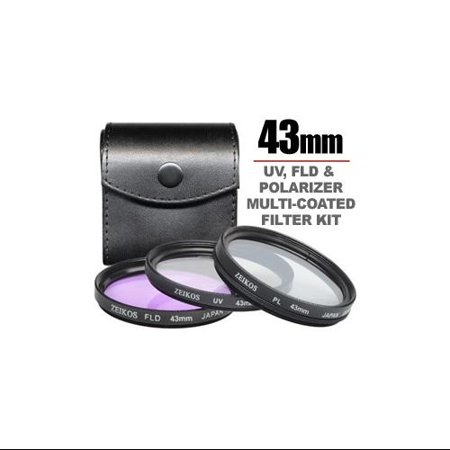 Zeikos 43mm Multi-Coated 3-piece Glass Filter Set For Canon Vixia