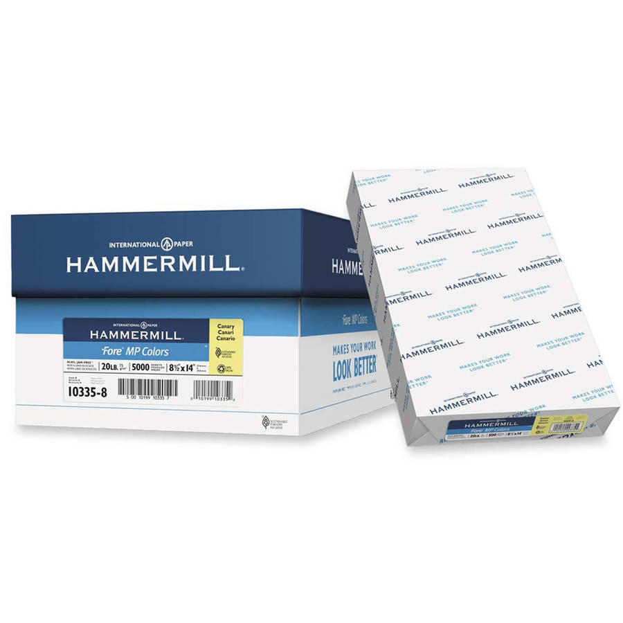 Hammermill 20 lb. Legal-size Fore Multipurpose Paper, 1 Ream, Canary