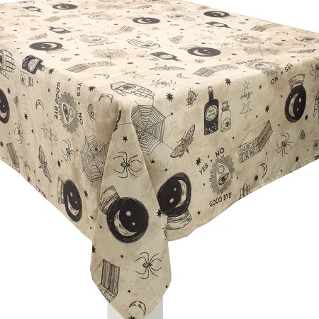 Spooks and Spells Halloween Fabric Tablecloth, Washable, 60 Inches by 84 Inches - Halloween Club Spook Show