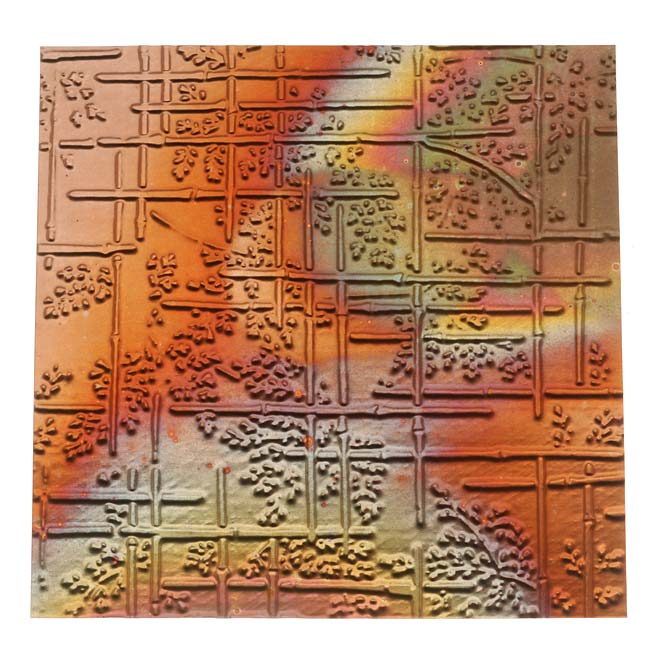 Lillypilly Copper Sheet Metal Bamboo Embossed Flamed Patina 36 Gauge - 3x3 In.