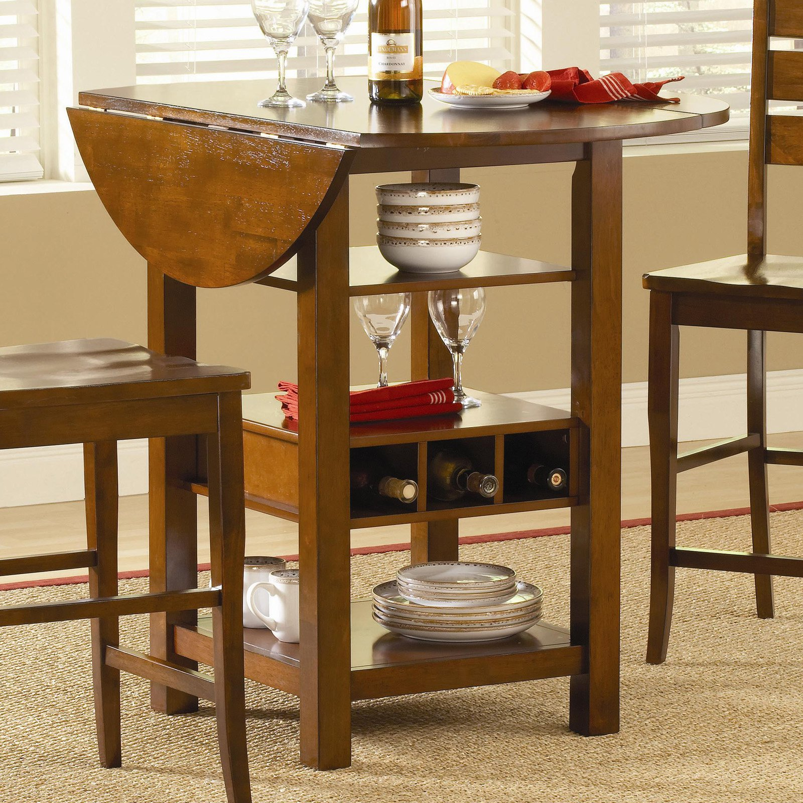 Ridgewood Counter Height Drop Leaf Dining Table With Storage   Mahogany