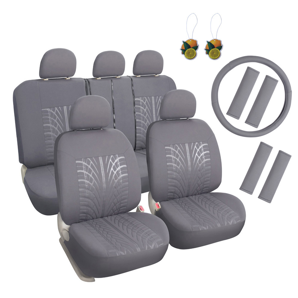 Leader Accessories 17pcs Auto Universal Embossed Cloth Car Seat Covers Combo Pack Set Low Back Front + Rear for Truck, Suv Washable with Airbag FREE Steering Wheel Cover & Shoulder Pads