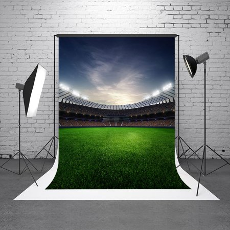 GreenDecor Polyster 5X7ft Retro Baseball Field Backgrounds for Parties Grass Blue Sky Photo Booth Backdrop for Photography Club Backdrop - Backdrop For Photo Booth