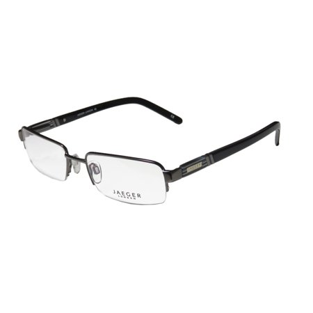 New Continental Classic Design Eyewear Jaeger London 06 Mens Rectangular Half-Rim Gray / Black Frame Demo Lenses 54-19-140 Spring Hinges (Italian Luxury Eyewear)