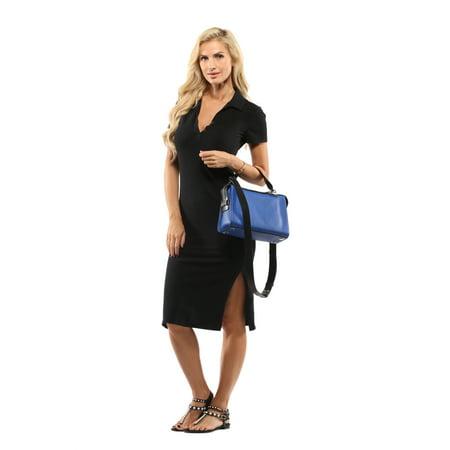 884abb709ba804 Michael Kors - michael michael kors electric blue & black ingrid medium  shoulder bag - Walmart.com