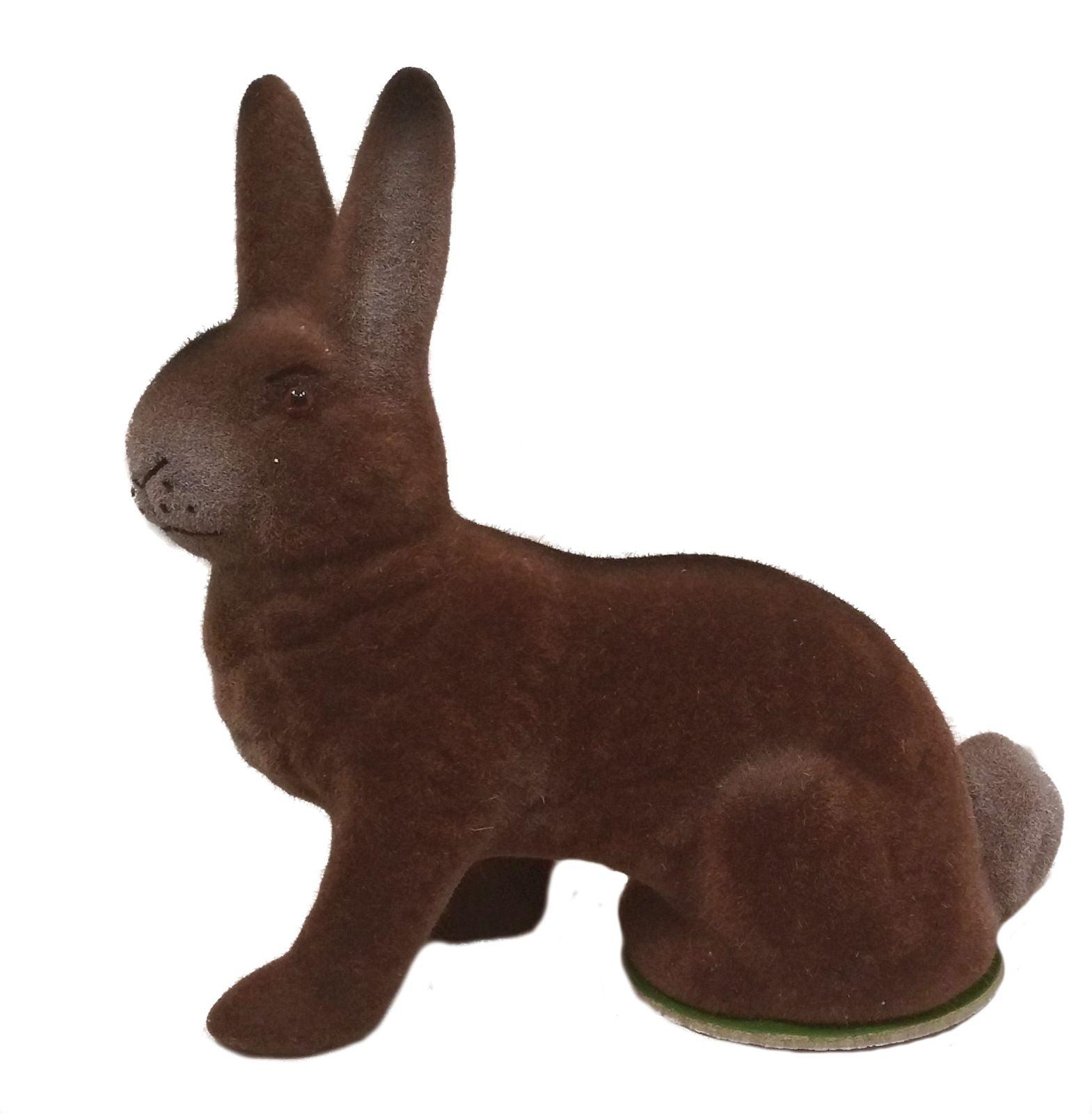 Ino Schaller Brown Flocked Sitting Bunny Rabbit German Easter Paper Mache