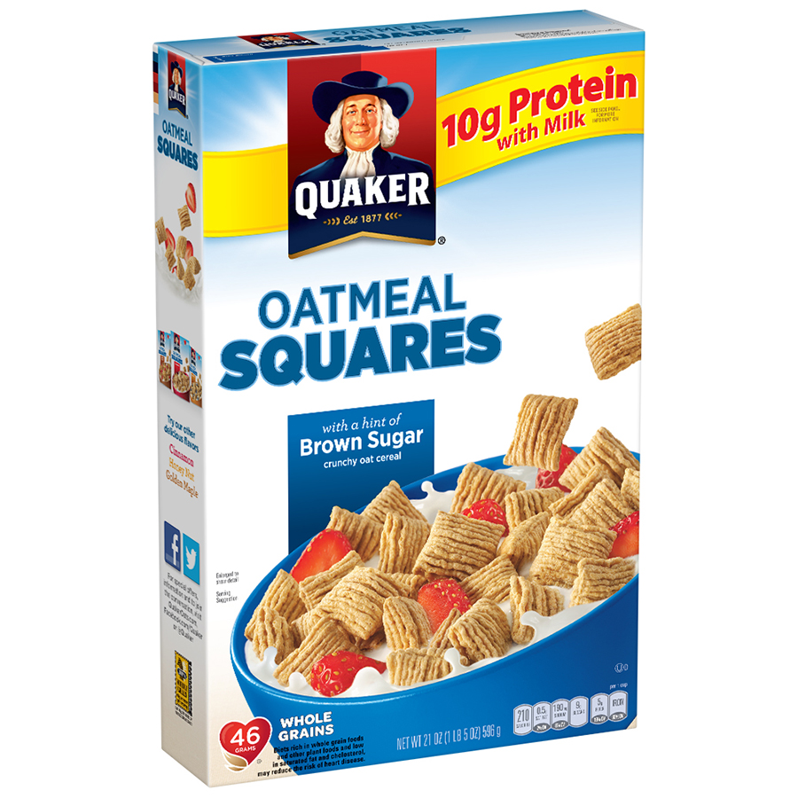 Quaker Oatmeal Squares Breakfast Cereal, Brown Sugar, 21 Oz