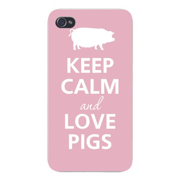 Apple Iphone Custom Case 4 4s White Plastic Snap on - Keep Calm and Love Pigs White Silhouette
